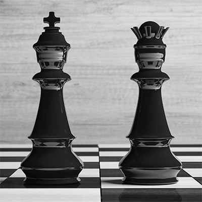 Image of chess pieces illustrating that content is king and access is queen when it comes to SEO
